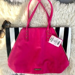 Juicy Couture Pink & Black & White Stripe Tote NWT